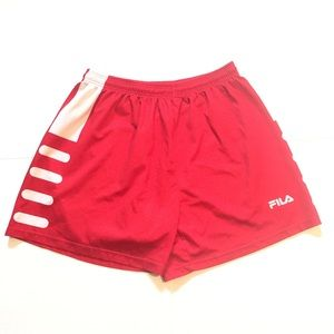FIL soccer shorts / athletic shorts red white
